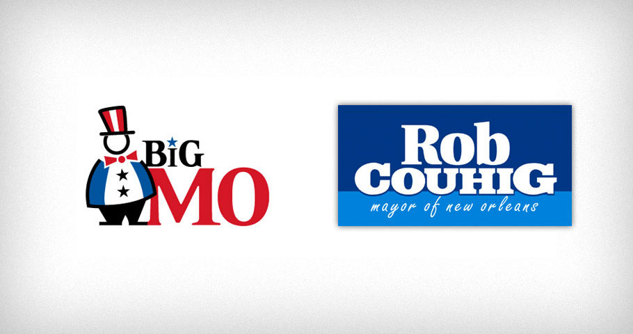 Logo for BigMo (political campaign tracking software) and Rob Couhig (candidate for Mayor of New Orleans)