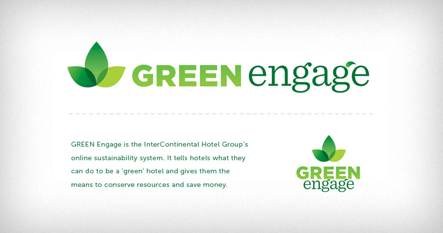 Logo for the InterContinental Hotels Group's Green Engage program, a program that tells hotels what they can do to be a 'green' hotel and gives them the means to conserve resources and save mone