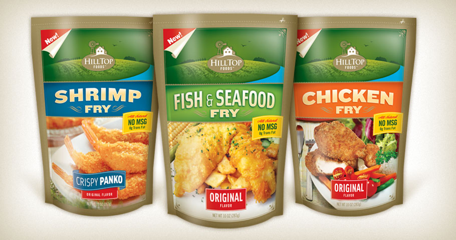 Fry mix packaging for Hilltop Foods.