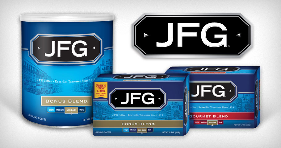 Redesign of the JFG Coffee packaging featuring a recreated scene of vintage downtown Knoxville Tennessee.