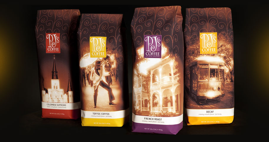 Coffee bags for PJ's Coffee of New Orleans. Featuring photos by New Orleans photographer Jackson Hill.