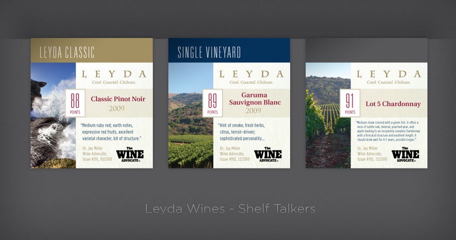 Shelf talkers for Leyda Chilean Wines.