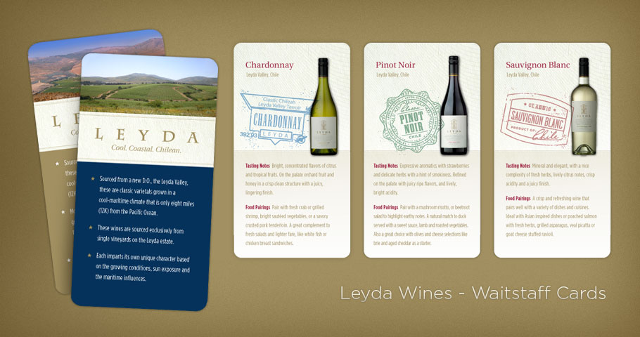 Waistaff Cards for Leyda Chilean Wines.