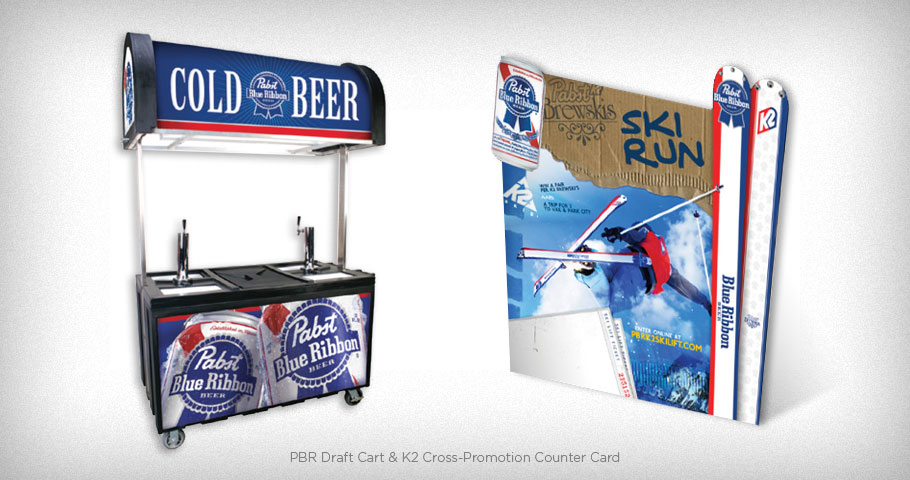 Pabst Blue Ribbon Draft Cart & PBR / K2 cross promotion counter card (alternate version)