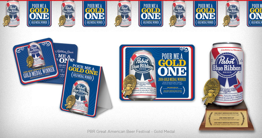 Coasters, Table Tent, Pendant String, Header Card & Metal Tacker sign to celebrate Pabst Blue Ribbons Gold Medal win at the Great American Beer Festival.