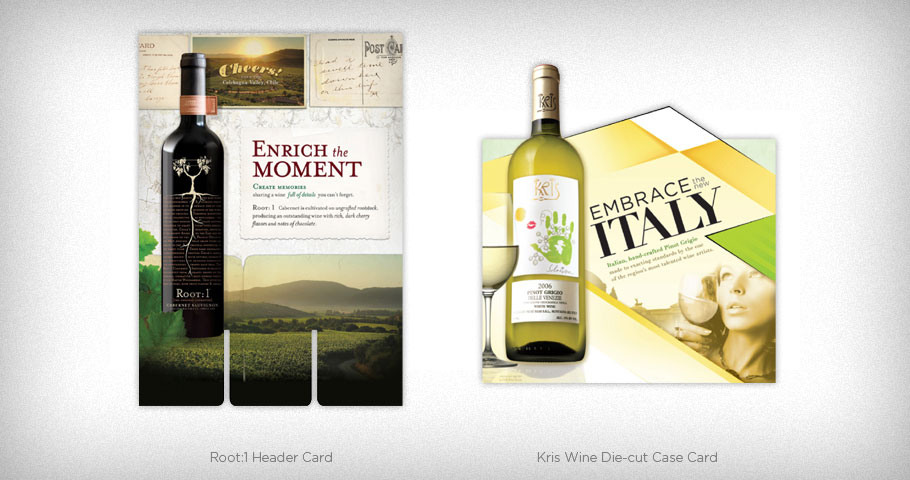 Header Card for Root:1 Wines and Die-cut Case Card for Kris Wine.