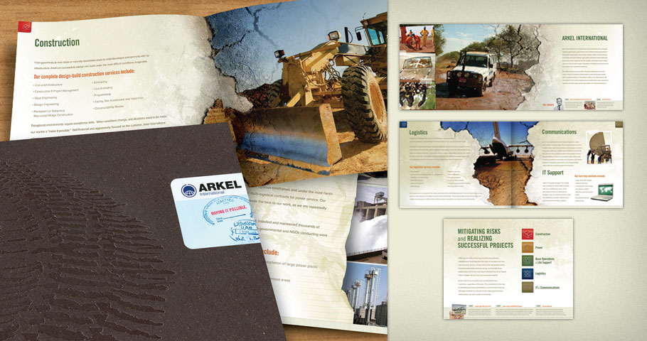 Brochure for Arkel International. Front and back covers feature clear foil stamps on 250# Gmund Bier Papier Bock.
