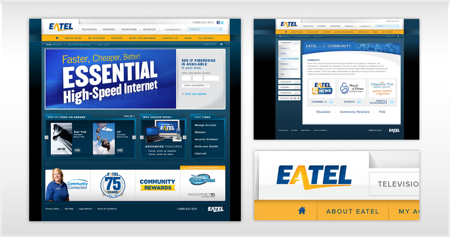 Website design for EATEL, a telecom company