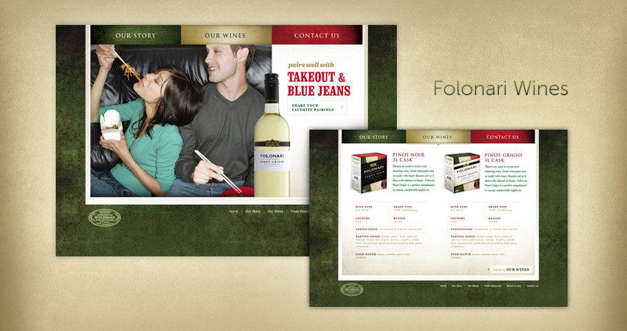 Website design for Folonari Wines