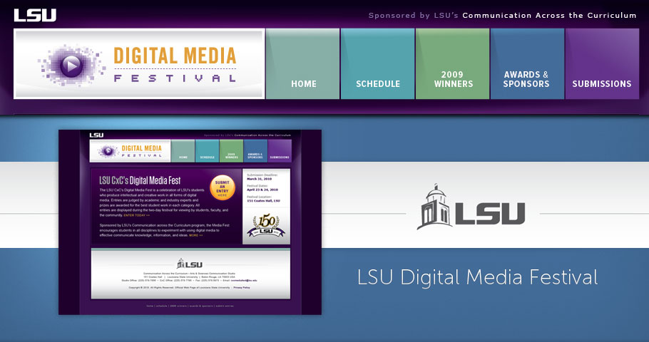 Website design for LSU Digital Media Festival