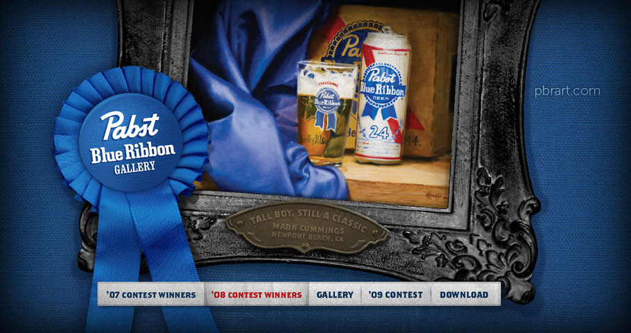 Website design for Pabst Blue Ribbon - PBRart.com